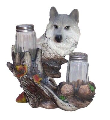 Wolf Figurine Statue and Salt Pepper Glass Shakers
