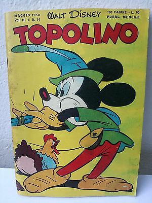 TOPOLINO N. 14 vol. 3 MAI 1950 excellent + timbre Walt Disney Mickey Mouse