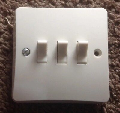 MK vintage light switch 3 gang 1 way, new