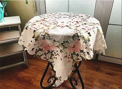 Beautiful Pink White Flower Embroidery Cutwork Table Cloth