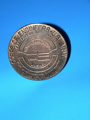 Old Heavy Bronze Jacksonville Florida Survey Marker Corps of Engineers US Army