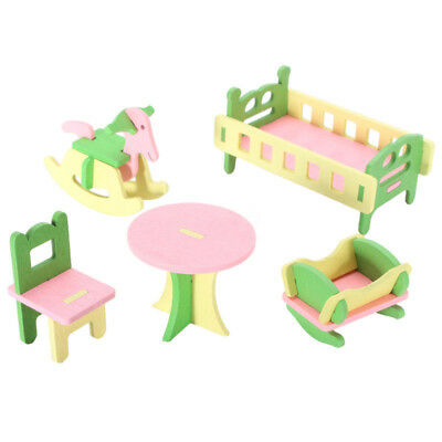 Wooden Furniture Set Doll House Nursery Room Miniature Toys For Kids Baby