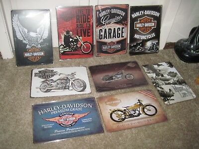 """HARLEY DAVIDSON Tin/Metal Signs 8"""" x 12"""" YOUR CHOICE All NEW In Plastic!"""