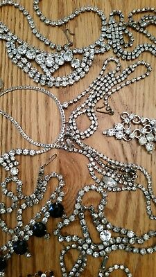 """Vintage Rhinestone Necklaces Lot Of 12 14-15"""" Glass Silver Gold Tones Unmarked"""