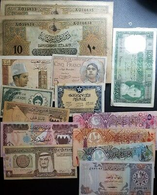 lot of 14 banknotes from middle east, ottoman Morocco Algeria Iraq Qatar saudi