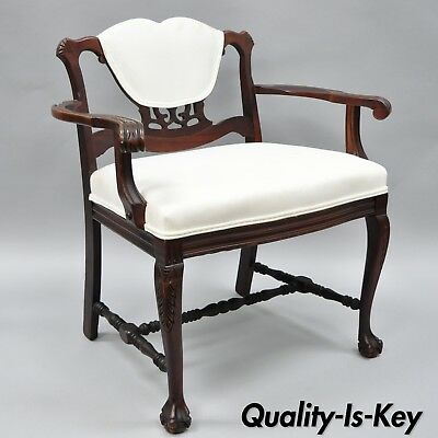 Antique Mahogany Chippendale Style Vanity Bench Seat Chair Ball & Claw Feet