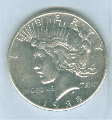 Genuine Key Date 1928 P $1 Silver Peace Dollar, AU Details with Cleaning.