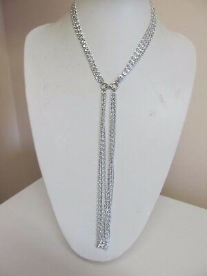 Vintage Sarah Coventry Multi Strand Light Weight Silver Tone Necklace