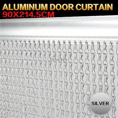 90X214.5cm Aluminum Door Curtain Metal Screen Fly Insect Mosquito Blinds