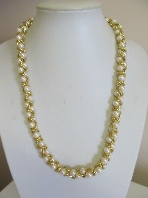 "Faux Pearl & Twisted Gold Tone Chain 24"" Necklace"