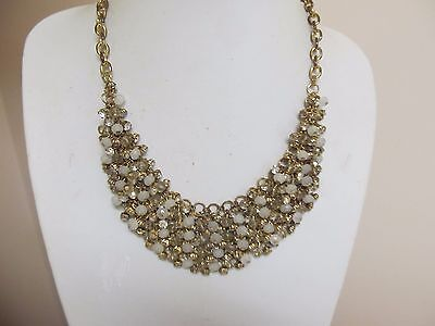 """Spring Street"" Rhinestone & Bead Collar 18"" Necklace In Gold Tone"