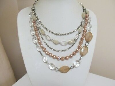 Very Pretty Bead Chain & Faux Pearl 5 Strand Drop Necklace In Silver Tone