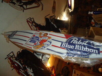 Mint Pbr Pabst Blue Ribbon Wood 4 Ft. Surfboard Beer Bar Sign Man Cave   Wow