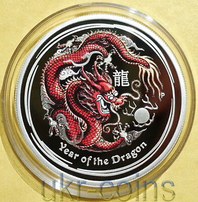 2012 Australia 1/2 Oz Year of the Dragon 龍 Lunar II Colored Proof Silver Coin