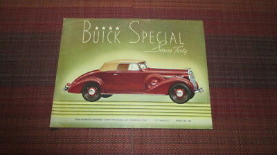 1937 Buick Special 2 Sided Brochure Sheet.