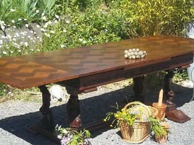 french antique extending Breton carved oak farmhouse dining table/full parquet