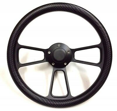 Dodge Chrysler Plymouth Black Powder Coated Carbon Fiber Muscle Steering Wheel