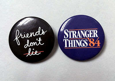 """NEW """"Stranger Things '84"""" & """"Friends don't lie"""" PIN BUTTON BADGE 1.25"""" (Topshop)"""