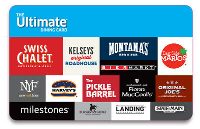 $250 Ultimate Dining Gift Card Valid for Food at 10+ Restaurant Chains Canada