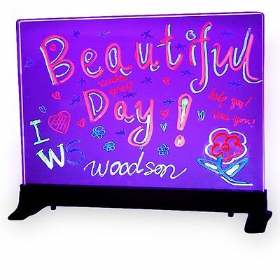 Flashing Illuminated Glass Erasable Fluorescent LED Message Board 16x12 w/ Stand