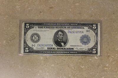 US $5 Federal Reserve Note SERIES 1914 Circulated