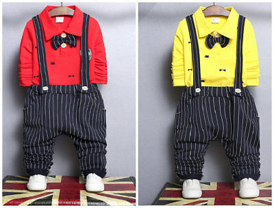 Kids Baby Boys Tops+ Pants Overalls sets Clothes For School party wedding Suits