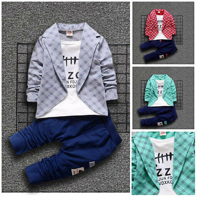 2pcs Kids Baby boys Outfits casual Tops Long Pants party daily Clothes Set cool