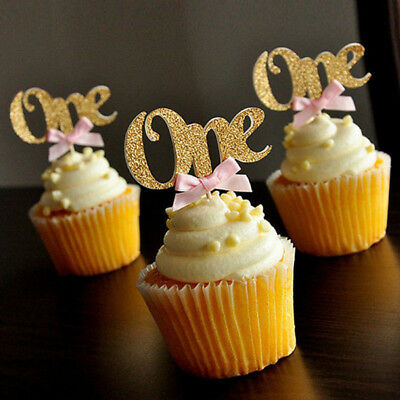 1st First Baby Birthday Party Cupcake Toppers Supplies Decortion Boys Girl Decor