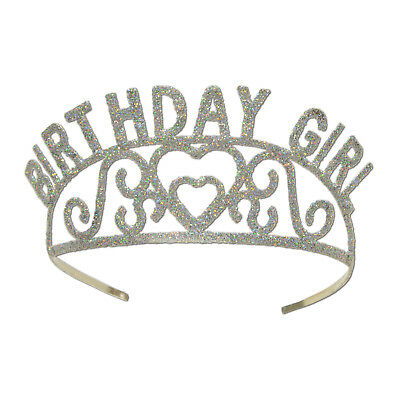 Birthday Age 40 Silver Glittered Metal Tiara Costume Accessory Milestone Party
