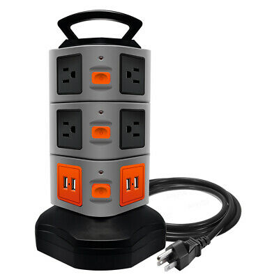 Anko 10 Outlet Surge Protector Power Strip with 4 Port USB Charging Ports
