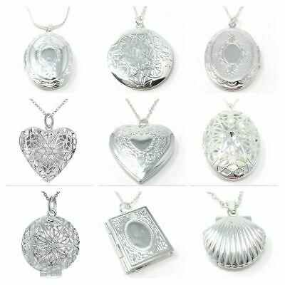 *UK Shop* 925 STERLING SILVER PLT PENDANT PHOTO PICTURE LOCKET NECKLACE CHAIN