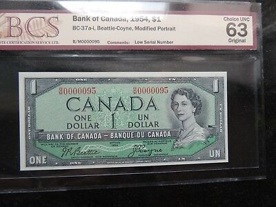 1954 Bank Of Canada One Dollar $ 1 Low Serial Number B/m 0000095 Choice Unc 63
