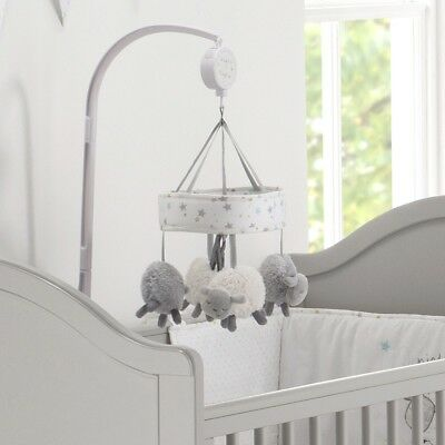 Silvercloud Counting Sheep Cot/Baby Musical Mobile Grey Nursery