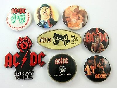 AC/DC BADGES 8 x Vintage AC/DC Pin Badges * Angus Young * Highway to Hell *
