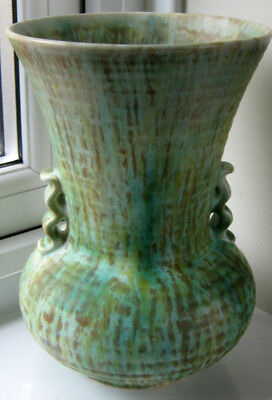 Vintage mid-century Crown Devon Vase with matt verdigris type glaze