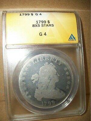 Problem Free 1799 8x5 Stars Draped Bust Silver $1 Large Eagle Certified ANACS G4