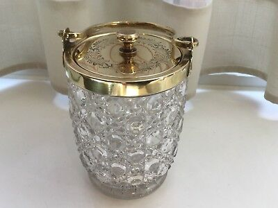 Lovely Antique Silver Plated And Hobnail Glass Preserve Honey Pot