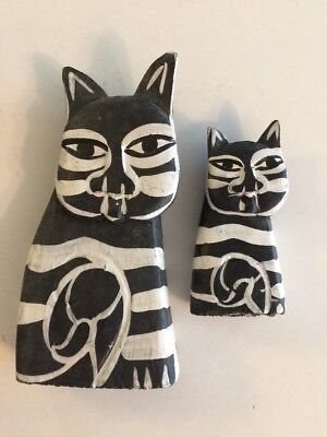 Two Wood Cat Hand Carved & Painted Wooden Folk Art Kitty Abstract Figurines