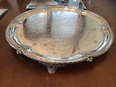 Lovely Antique Victorian Alfred Browett Silver Plated Chased Footed Drinks Tray