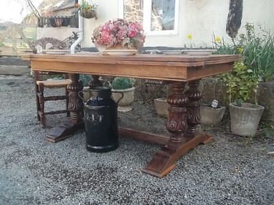 quality extending french oak carved dining table ideal for  family entertaining