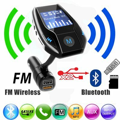 Wireless Bluetooth FM Transmitter Radio Adapter Hands-free Car Kit 2 USB Charger