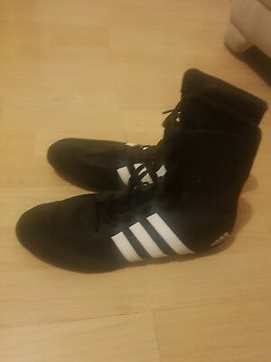 Adidas Box Hog 2 Boxing Boots Mens Black Sports Shoes Trainers Size 8