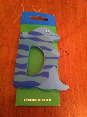 Crocodile Creek brand hand painted wooden letter D shape with dolphin Collector
