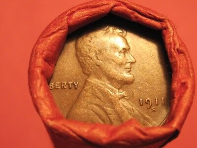 Mixed Small Cent Roll 1911-S Lincoln Wheat Cent & 1929-S Wheat Cent (ends)