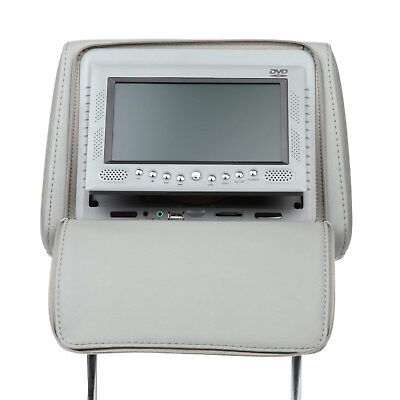 Grey 2x 7 inch Digital Car Headrest Pillow Monitor with DVD Player 32 Bits Game
