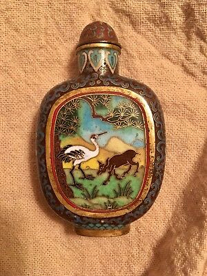 Beautiful Vintage Chinese Cloisonné Snuff Bottle Deer And Crane