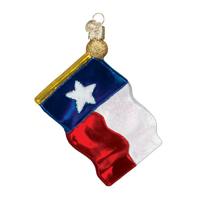 """Texas State Flag"" (36045)X Old World Christmas Glass Ornament w/ OWC Box"