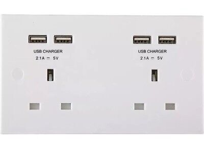BG Electrical 13A 2 Gang Unswitched Socket with USB (4 Port 4.2A), 240 V, White