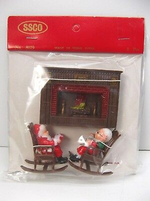 Vintage Christmas Ornaments Santa & Mrs. Santa in Rocking Chairs with Fireplace