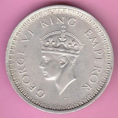 British India-1942-Bombay Mint-One Rupee-King George 6-Rarest Silver Coin-28